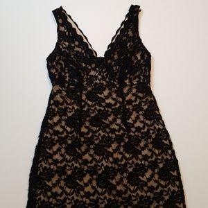 Black Lace Midi Sheath Dress w/ Nude Underlay